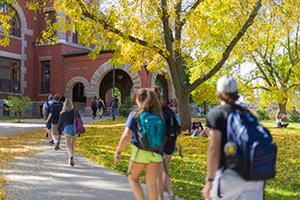 students walking around UNH campus
