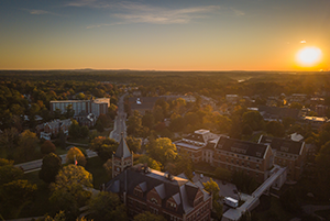 UNH campus at sunset