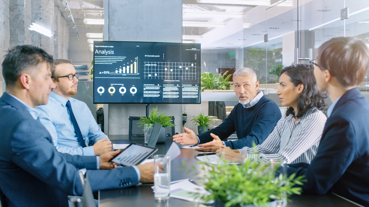 business analytics professionals in a management meeting