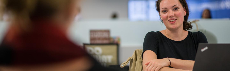 Student at desk in Semester in the City Boston internship