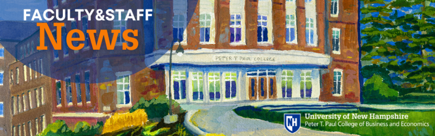 Faculty&Staff news overlaid onto painting of paul college