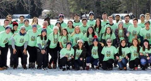 Leadership Camp photo of entire group out in the snow