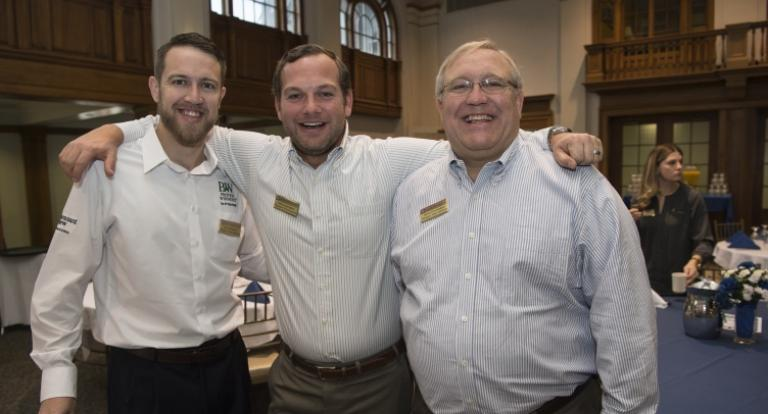 Jon Huntington, Andy Huntington '08, and Henry Huntington '80, of Pleasant View Gardens in Loudon, pose for a family photo at the Center for Family Business/CEO Forum Combined Annual Meeting.