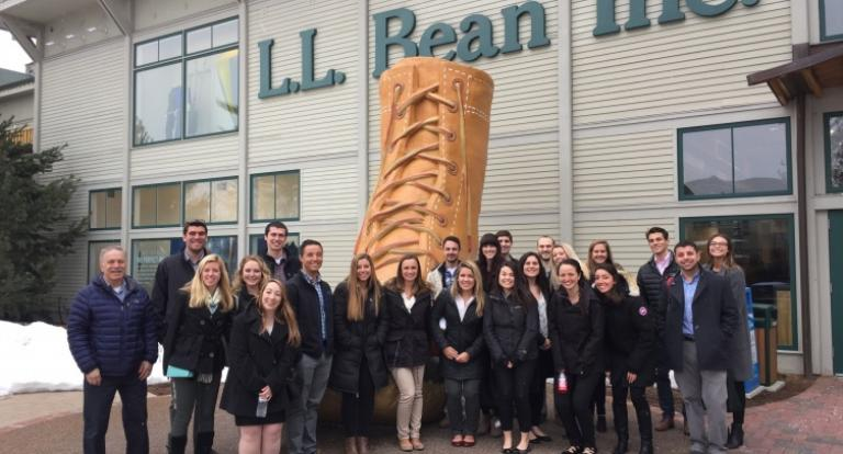 students in front of LL Bean