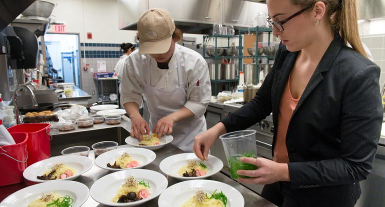 students preparing gourmet meal