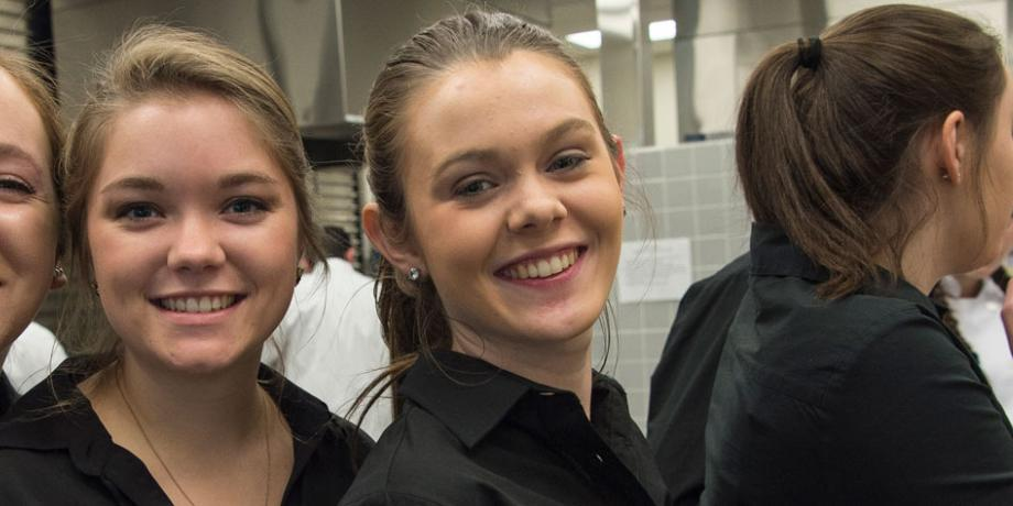 Hospitality Management Gourmet Dinner, 3 student servers