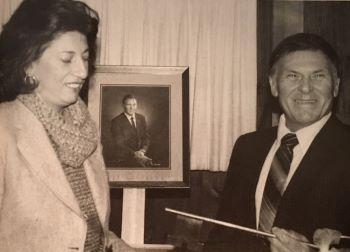 Bill Rosenberg and UNH President Evelyn E. Handler in 1980
